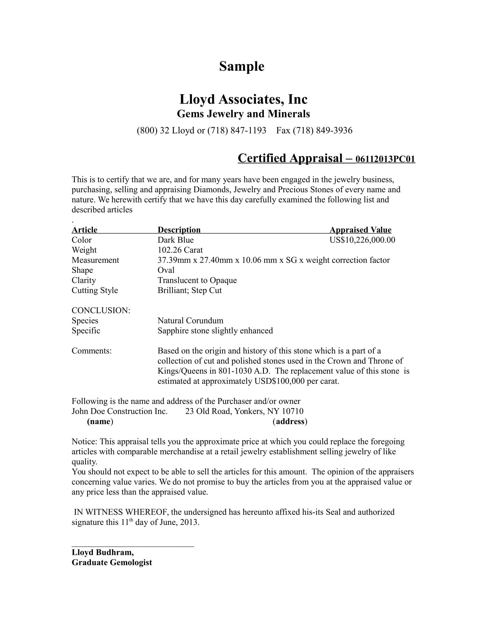 Certification Lloyd Associates Inc